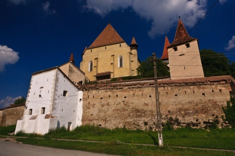 Outside the walls of the fortified church in Biertan, Romania.