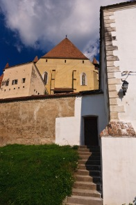 Outside the walls of the fortified church in Biertan, Transilvania, Romania.