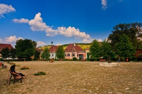 Village square, Biertan, Romania.