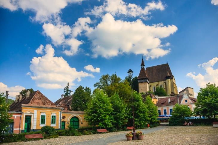 Village square, Biertan, Transilvania, Romania.