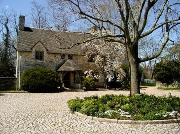 Historic house, cobblestone courtyard, Upperville, VA, USA.