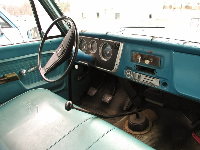 Inside an old diesel car