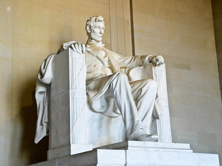 Statue of Abraham Lincoln, downtown Washington, DC, USA.