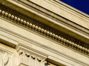 Intricate neoclassic architectural details, downtown Washington, DC, USA.