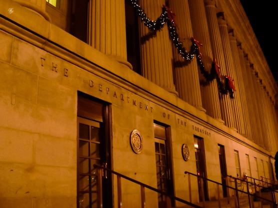 The Department of the Treasury, at night, Washington, DC, USA.