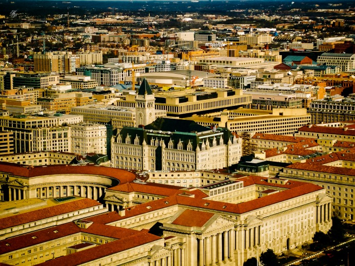 A panoramic view of the government buildings in downtown Washington, DC, USA.