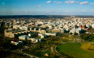 Washington DC, as seen from the top of the Washington Monument.