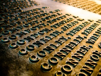 Names of soldiers who died in WWI, WWI Memorial, Washington, DC, USA.