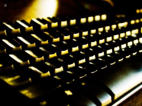 A black computer keyboard.