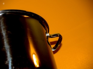 Stainless steel pot.
