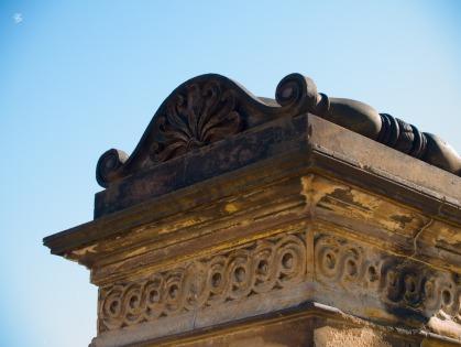 A sculpted column marking the original entrance into Washington, DC, USA.
