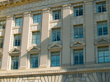 Architectural motifs, building in downtown Washington, DC, USA.