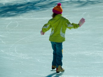 Girl on skating rink, Washington, DC, USA.