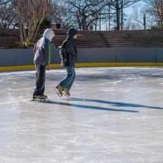 Children skating near the Willard Hotel, Washington DC.