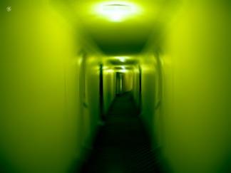 Vertigo, movement blur, long hallway.