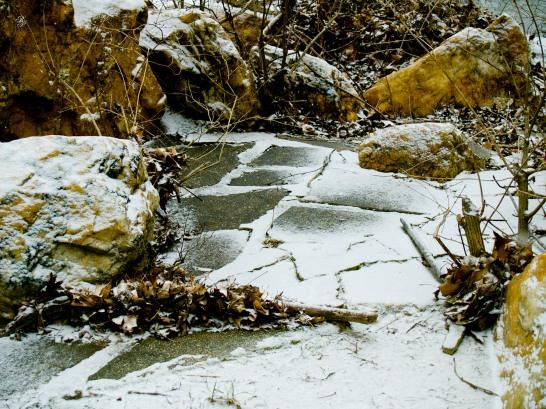 Rocks covered in snow, Grosvenor Park.