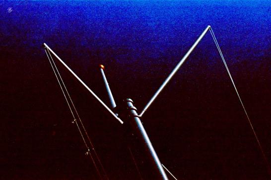 Odd, triangular pillar, docks, Washington, DC, USA. 35mm film, Exakta EXA Ia.