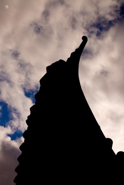 Pagoda roof pointing toward the sky. National Arboretum, Washington, DC, USA.