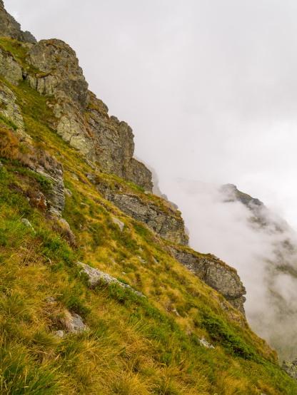 Fog climbs upwards