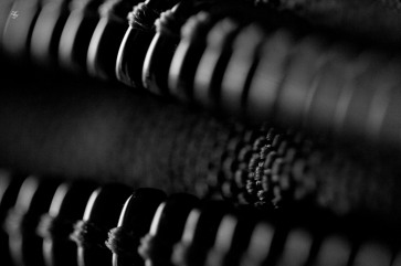 Ridges, cloth texture, macro, abstract, black and white.
