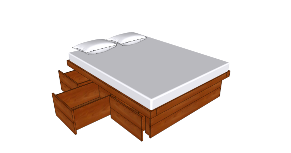 PDF Platform Bed With Drawers Queen Made With Pocket Hole Plans DIY ...