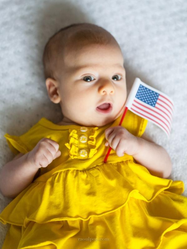 Sophie waves the flag