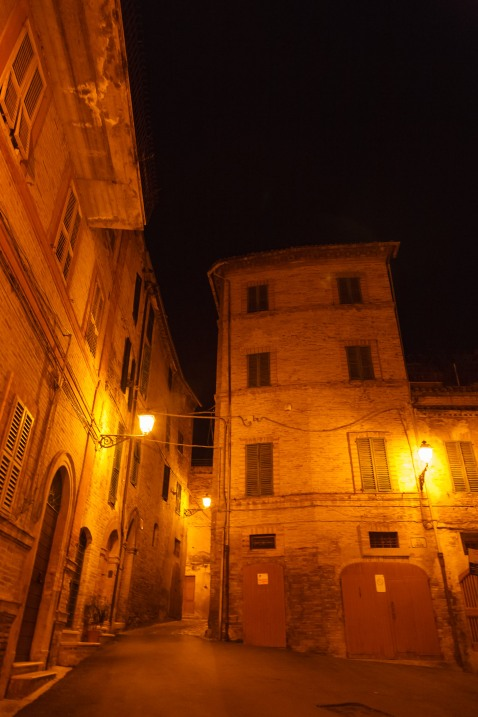 A piazzetta in Grottammare, Italy, at night