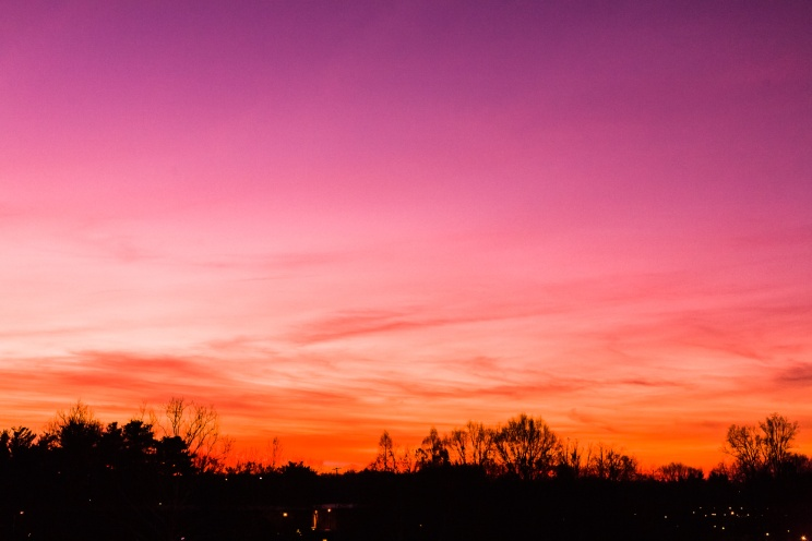 A colorful sky at dawn on a crisp and cold January morning.