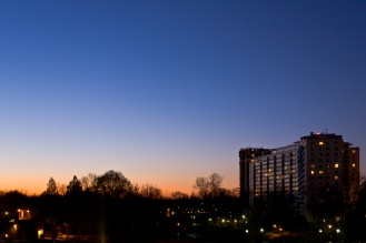Dawn starts to color the sky in our neighborhood. Taken right from our apartment's terrace in North Bethesda, MD.