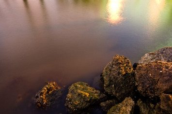 Shore, Intracostal Waterway, early morning, long exposure. Hollywood, Florida, USA.