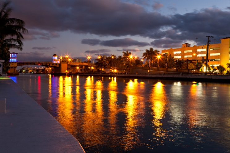 Bridge over Intracostal Waterway, early morning long exposure, Hollywood, Florida, USA.