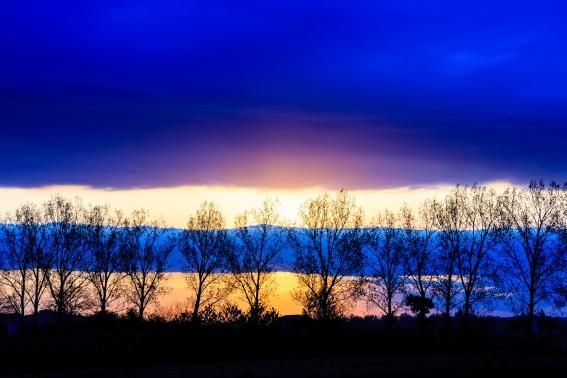 Layered dawn sky