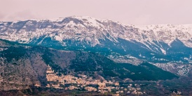 A town nestled at the foot of the mountains in the Abruzzo region of Italy.