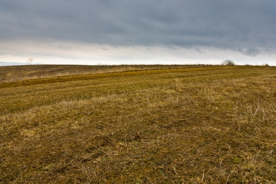 Atop a large hill, a wide plateau is used for farmland. In winter, it sits unused and barren.