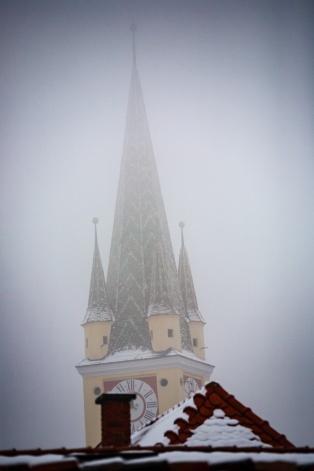 Frosty, foggy winter morning, Medias, Romania