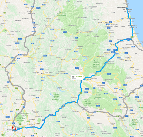 Route from Grottammare to Rome