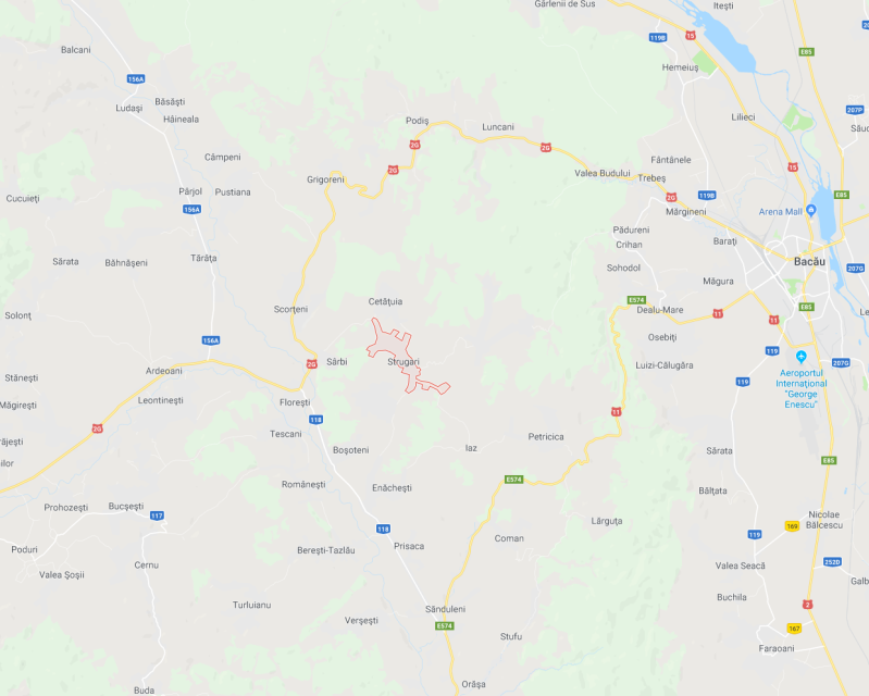 A map of the region around Strugari, Moldova