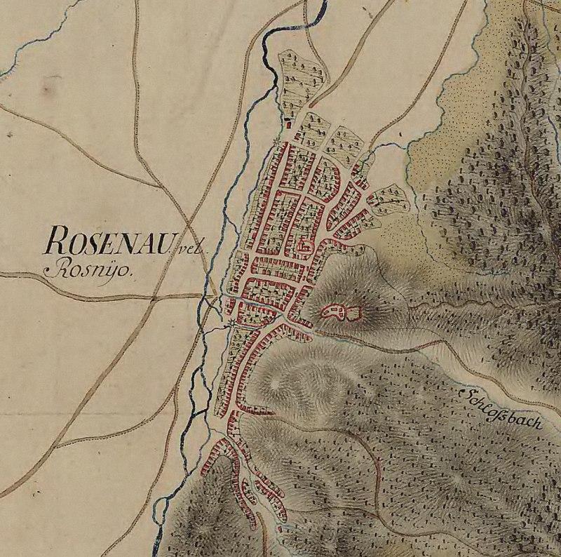 Râșnov citadel and village on the Josephine Map of Transylvania