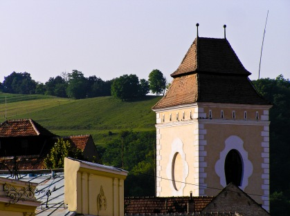 One of the towers marking an old medieval entrance to the fortified part of the city of Medias, Romania.