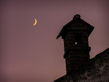 Moonrise and a chimney
