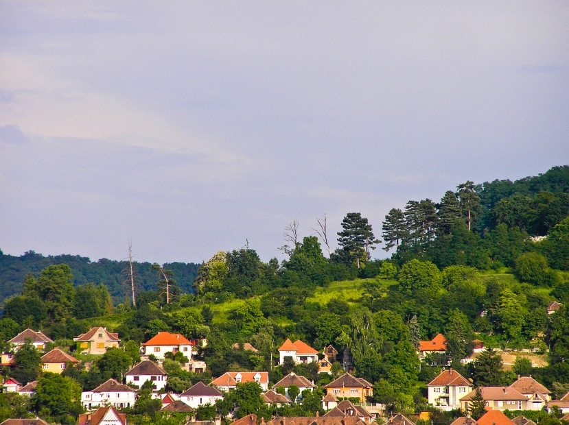 Houses and villas from the city of Medias, Romania, on a bright summer day.