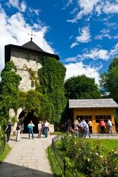 Main gate, interior courtyard, Manastirea Moldovita, Bucovina, Romania.