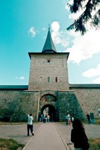 Entrance to Manastirea Sucevita, Bucovina, Romania.