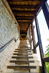 Stairway to cloisters, Manastirea Sucevita, Bucovina, Romania.