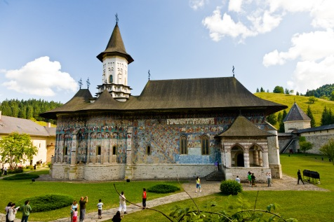 Interior courtyard, church, Manastirea Sucevita, Bucovina, Romania.