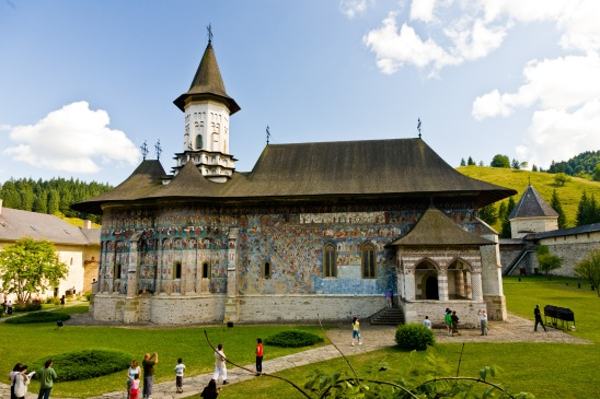 Interior courtyard, church, Manastirea Sucevita, Bucovina, Romania.