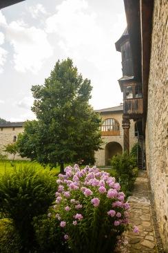 Interior courtyard, garden, Manastirea Sucevita, Bucovina, Romania.