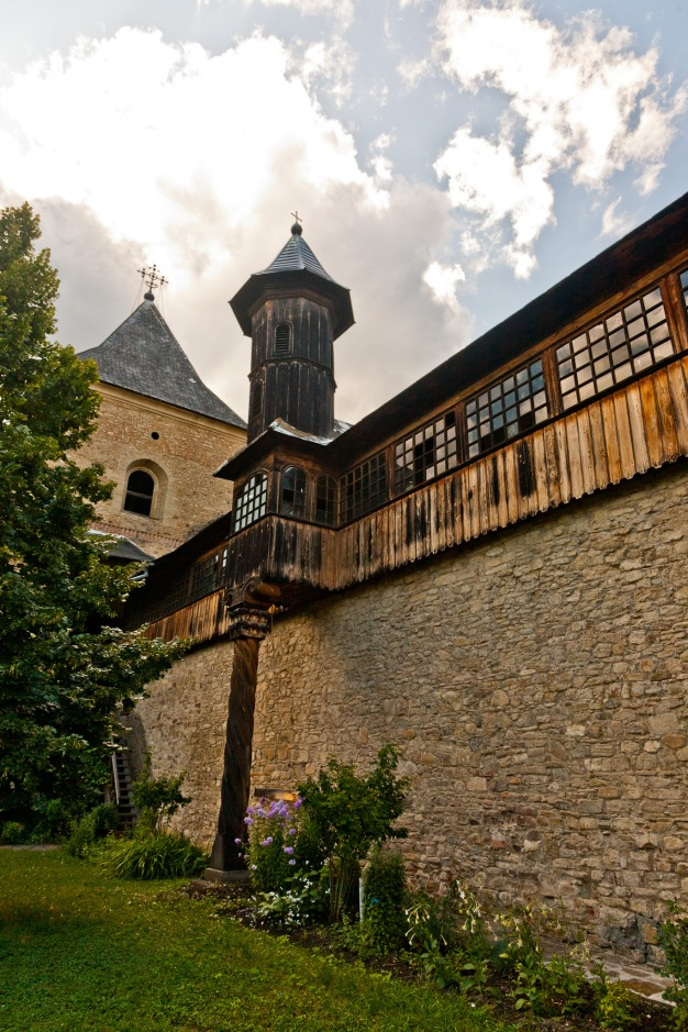Defense wall, cloisters, Manastirea Sucevita, Bucovina, Romania.