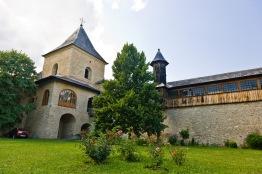 Defense wall and cloisters, Manastirea Sucevita, Bucovina, Romania.