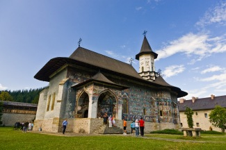 Church and interior courtyard, Manastirea Sucevita, Bucovina, Romania.
